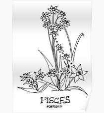 Floral Constellation - Pisces Poster