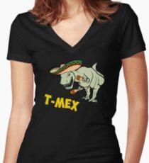 T-Mex T-Rex Mexican Tyrannosaurus Dinosaur Women's Fitted V-Neck T-Shirt