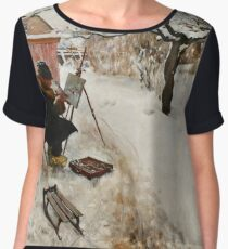 Winter Motif - Plein Air  Women's Chiffon Top