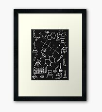 Chemical lab equipment scribbles Framed Print
