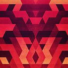 Abstract red geometric triangle texture pattern design (Digital Futrure - Hipster / Fashion) by badbugs