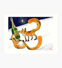 Foxy New Years Celebration Art Print