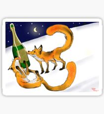 Foxy New Years Celebration Sticker