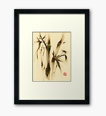 """Awareness"" Sumi-e bamboo painting on paper Framed Print"