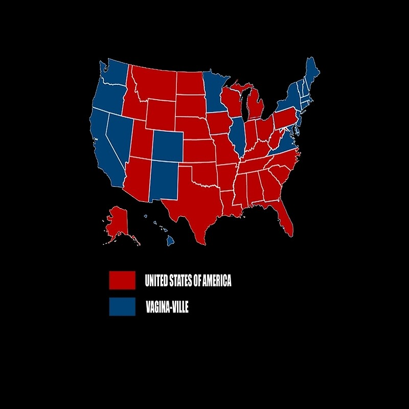 Election Map USA Vs VaginVille With Red Michigan Graphic T - Us map 2016 elect