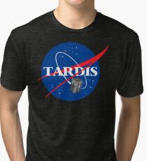 Tardis NASA T Shirt Parody Dr Dalek Who Doctor Space Time BBC Tenth Police Box Tri-blend T-Shirt