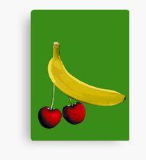 Funny banana and dangly cherries Canvas Print