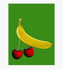 Funny banana and dangly cherries Photographic Print