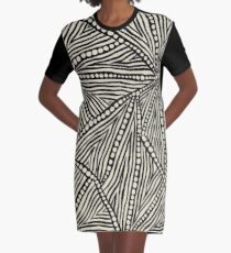 Black and Ivory Triangles Graphic T-Shirt Dress