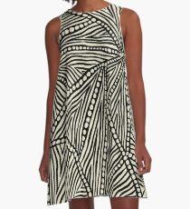 Black and Ivory Triangles A-Line Dress