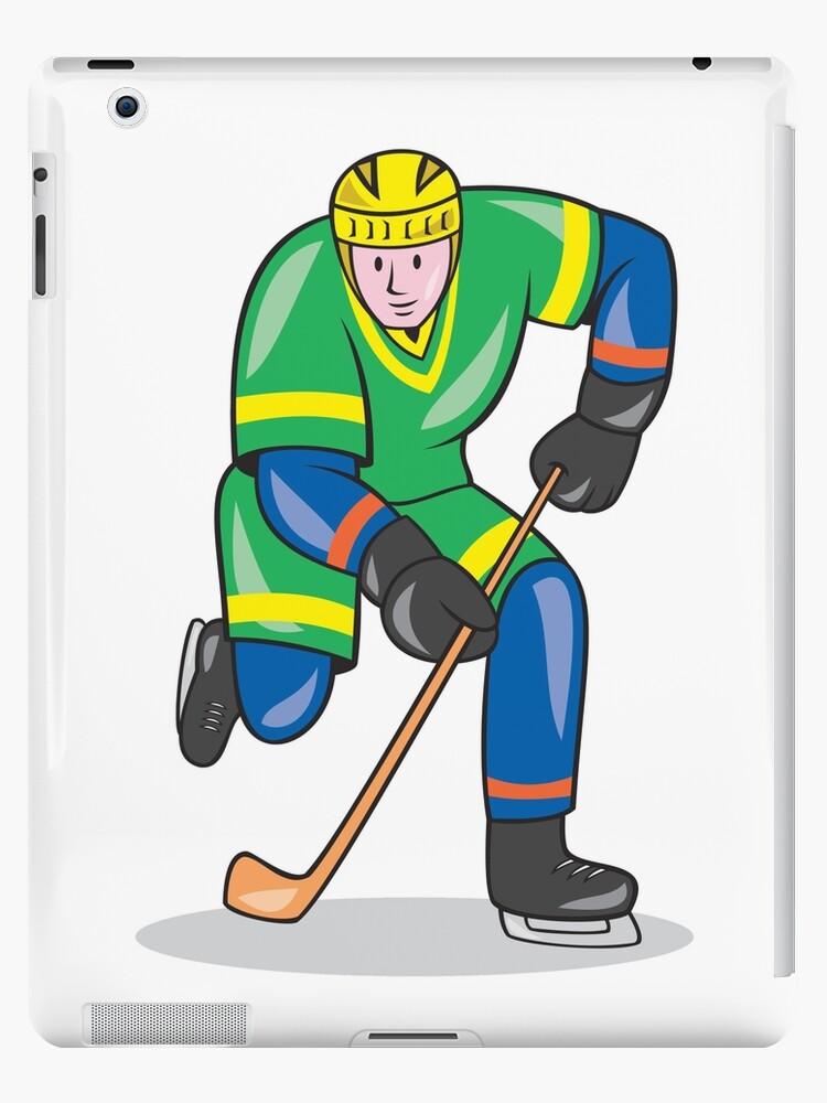 Ice Hockey Player With Stick Cartoon Ipad Case Skin By Patrimonio Redbubble
