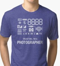 Photographer Camera Photography Gift Present Funny Tri-blend T-Shirt
