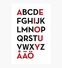 Swedish alphabet Photographic Print