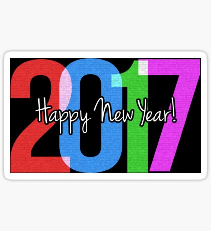 New Year's Greeting With Neon 2017 Sticker