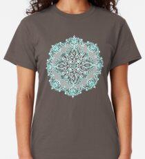 Teal and Aqua Lace Mandala on Grey Classic T-Shirt