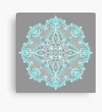 Teal and Aqua Lace Mandala on Grey Canvas Print