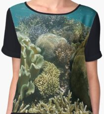 Coral reef underwater south Pacific ocean Women's Chiffon Top