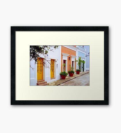 Old San Juan Street, Puerto Rico Framed Print