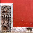 Beautiful Mexican Architecture - Doorway On Vivid Red Wall by Mark Tisdale