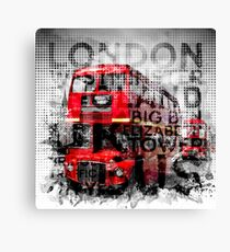 Graphic Art LONDON WESTMINSTER Buses   Typography Canvas Print