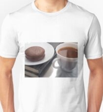 White cup with cocoa and chocolate covered biscuit  Unisex T-Shirt
