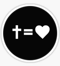 Cross Equals Heart Sticker