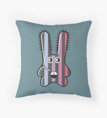 Blue Zipper Monster Throw Pillow