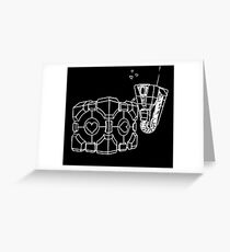Claptrap and Companion Cube (White) Greeting Card
