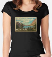 Montana Vintage Travel T-shirt Women's Fitted Scoop T-Shirt