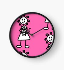 The Girl with the Curly Hair Holding Cat - Pink Clock