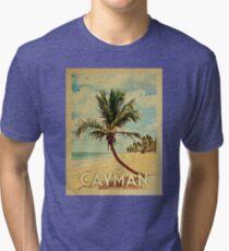 Cayman Islands Vintage Travel T-shirt - Beach Tri-blend T-Shirt