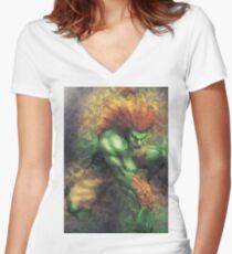 Street Fighter 2 - Blanka Women's Fitted V-Neck T-Shirt