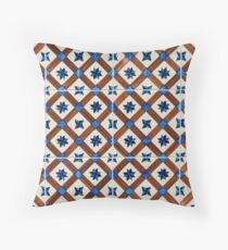Ceramic tile in Lisbon street Throw Pillow
