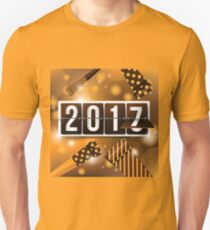 2017 New Year's mechanical flip numbers and party blowers design T-Shirt