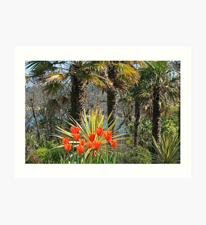Palms & Tulips Art Print