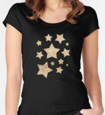Beautiful champagne gold glitter sparkles Women's Fitted Scoop T-Shirt