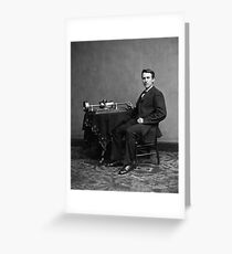 Edison and his invention the phonograph in 1878 Greeting Card