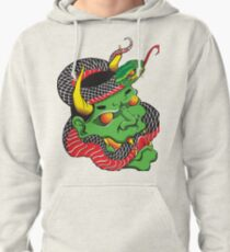 Japanese Oni and Snake Pullover Hoodie