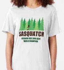 Bigfoot Sasquatch Hide and Seek World Champion Slim Fit T-Shirt