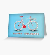 Candy Cane Bicycle - Happy Holidays Greeting Card