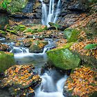 Autumnal Wharnley Burn Waterfall by Angie Morton