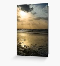 lone surfer on the winter waves Greeting Card