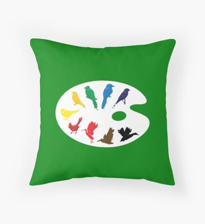 Bird Palette Throw Pillow