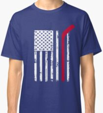 Red Hockey Stick American Flag Shirt USA Distressed White Soccer Hockey Lacrosse Goalie Mom Dad T-Shirts Classic T-Shirt