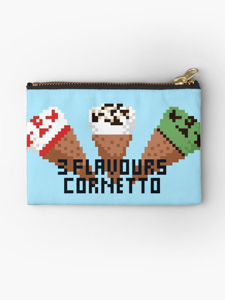 3 Flavours Cornetto Pixel Art Zipper Pouch