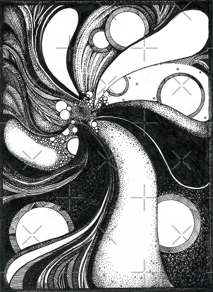Whirl, Ink Drawing by Danielle Scott