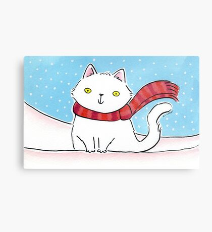 White Cat in the Snow Metal Print