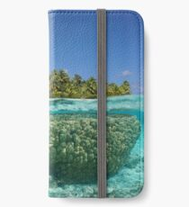 Tropical island above and underwater with coral iPhone Wallet