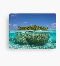 Tropical island above and underwater with coral Canvas Print