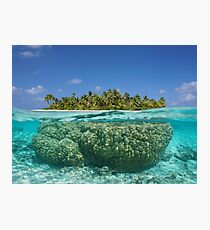 Tropical island above and underwater with coral Photographic Print